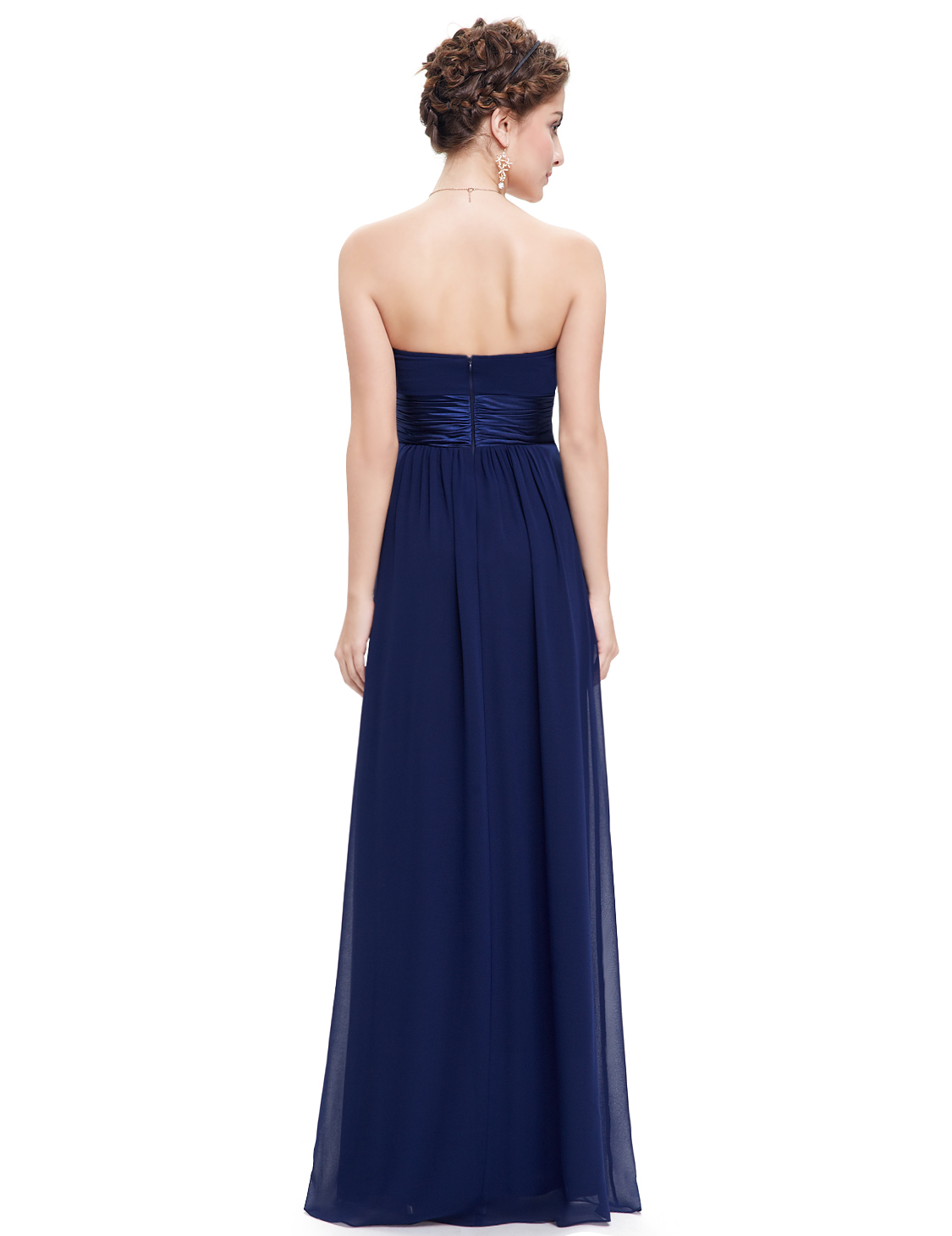 Ever pretty strapless ruched bust sapphire blue chiffon for Padded strapless bra for wedding dress