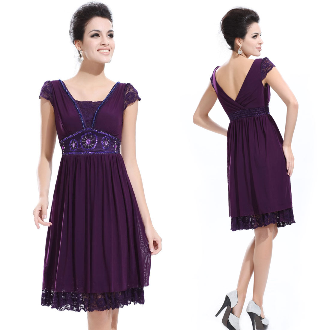 Elegant Purple Ruched Lace Cocktail Dress 02891 Size L on eBay.ca (item 220508254953 end time  09-Dec-09 17:04:41 EST)