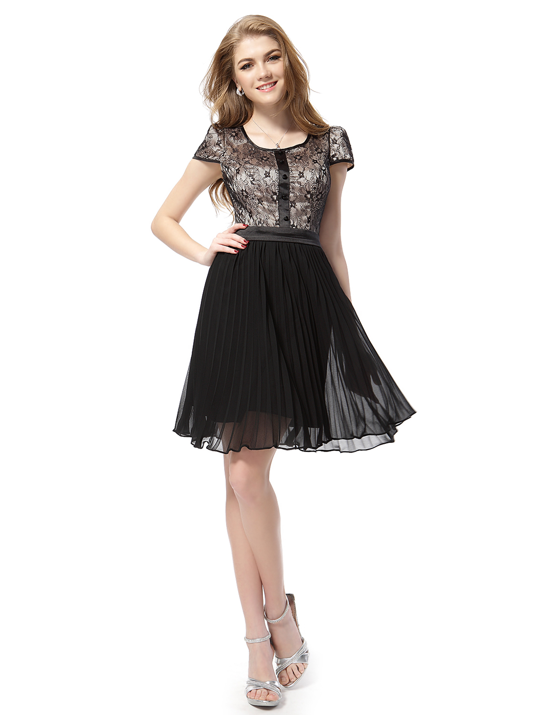Short Black Lace Dress With Sleeves Short Sleeve Halter Black Lace