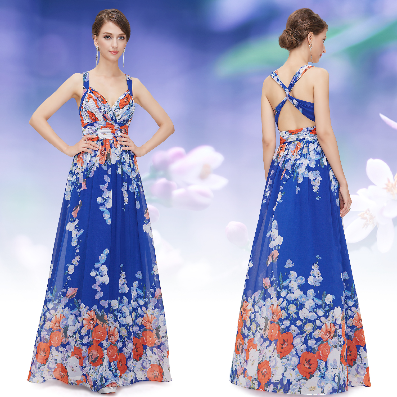 Ever Pretty Elegant Long Floral Evening Party Gown Formal Cocktail Dresses 08423