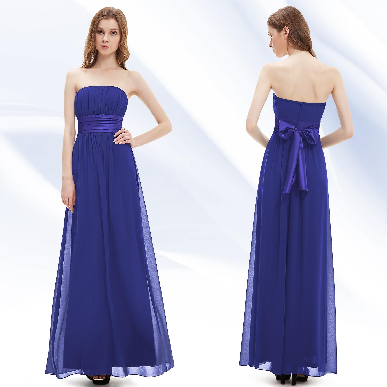 Cheap Wedding Dresses Ebay Uk: Bowtie Sapphire Blue Chiffon Strapless Formal Bridesmaid