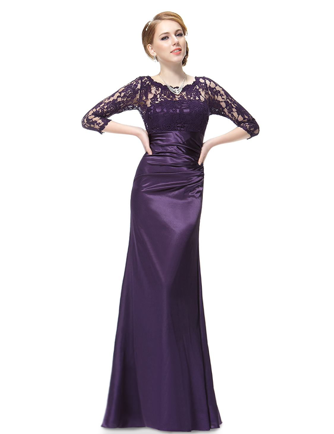 Lace Long Sleeve Formal Bridesmaid Formal Gowns Floor Length ...