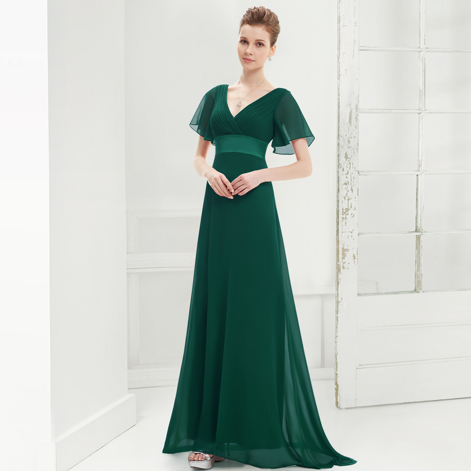 New-Glamorous-Green-Double-V-Neck-Ruffles-Padded-Evening-Dress-09890-AU-Size-08