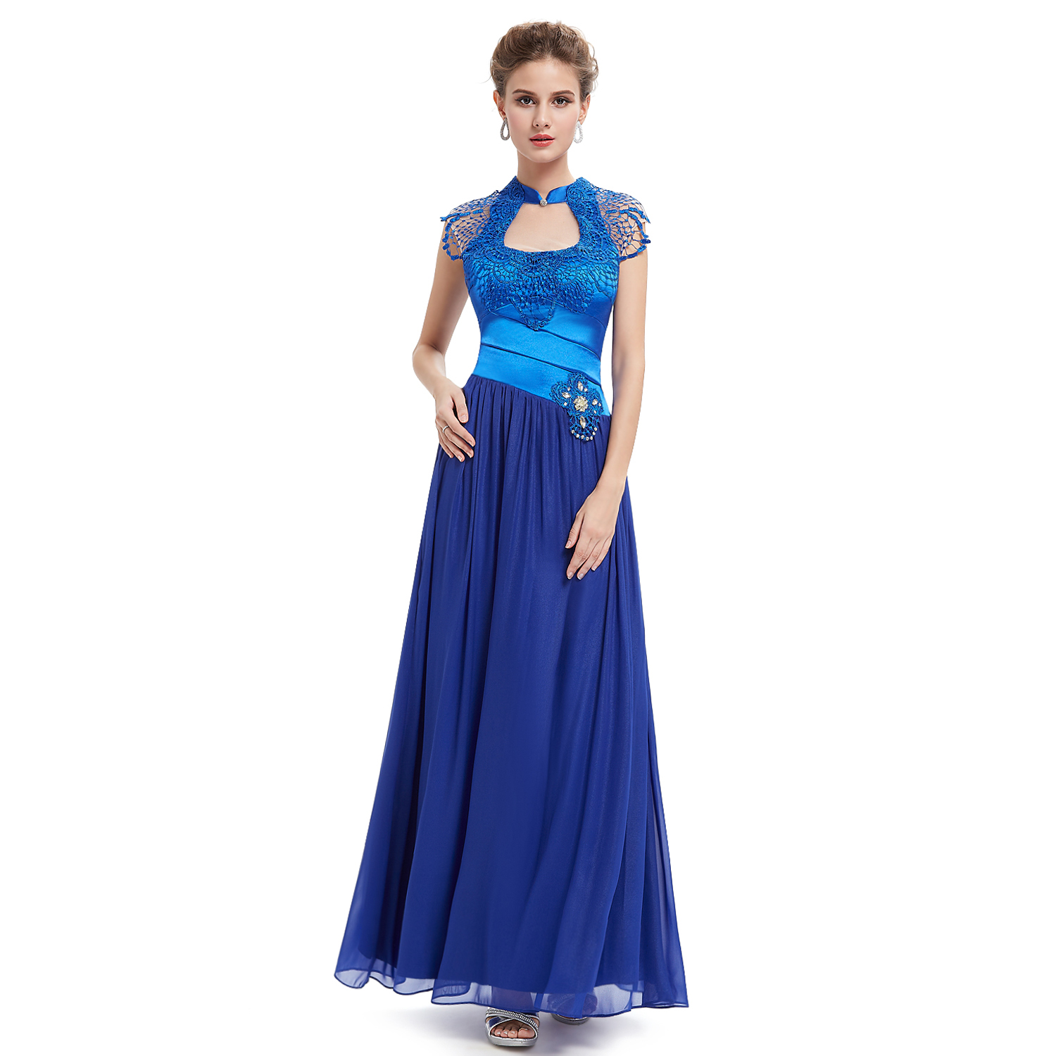 New-Ladies-Vintage-Blue-Lace-Long-Evening-Formal-Prom-Dress-Gown-09948-Size-6-18