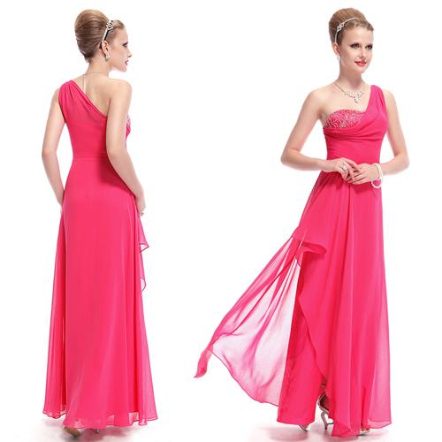 Hot Pink One Shoulder Long Bridesmaid Formal Evening Party Dress 09980 US Seller