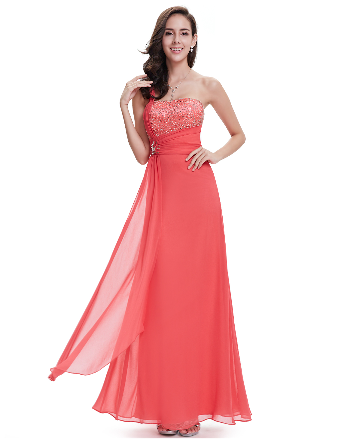 Coral Bridesmaid e Shoulder Sequined Bust Chiffon Long