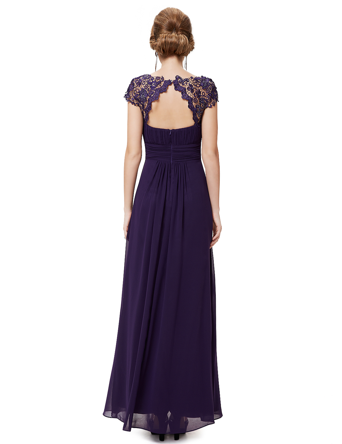 Ever Pretty Purple Lacey Long Evening Bridesmaid Formal