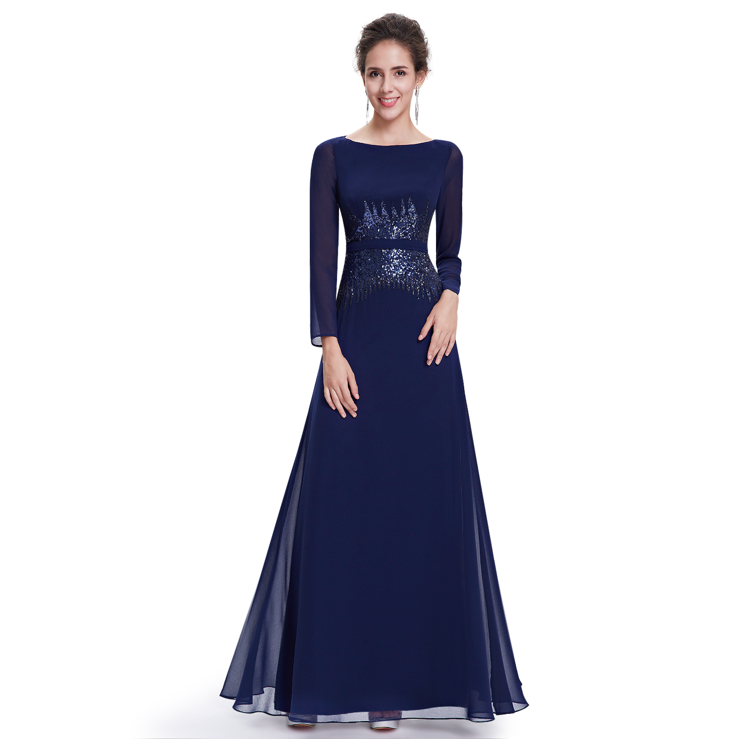 Ever Pretty Women Long Sleeve Formal Evening Party Gown Prom ...