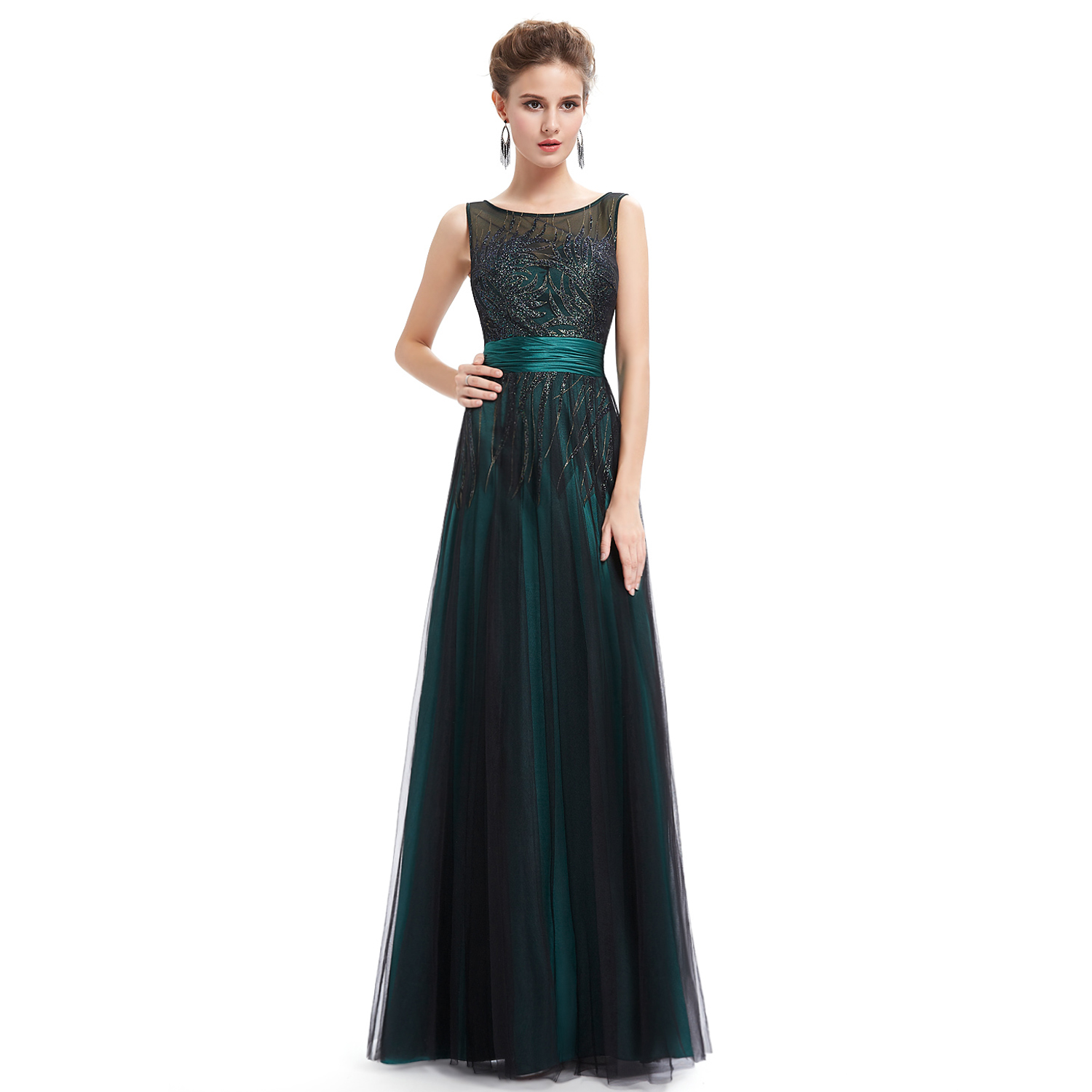 Elegant Green Black Evening Round Neck Long Party Evening Formal New Dress 08740
