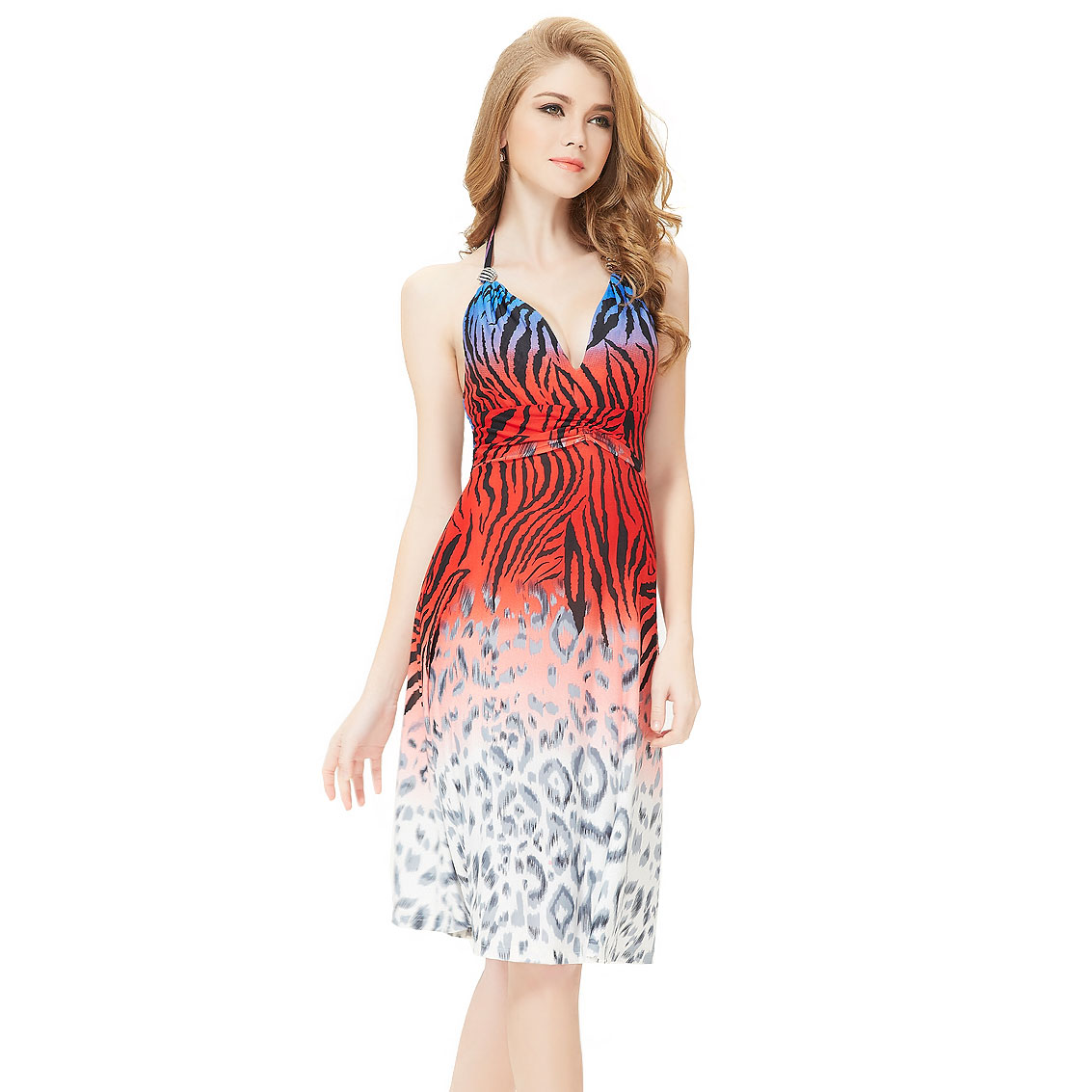 Ever-Pretty Ever Pretty Halter Animal Printed High Stretch Diamante Cocktail Dress 03680 at Sears.com