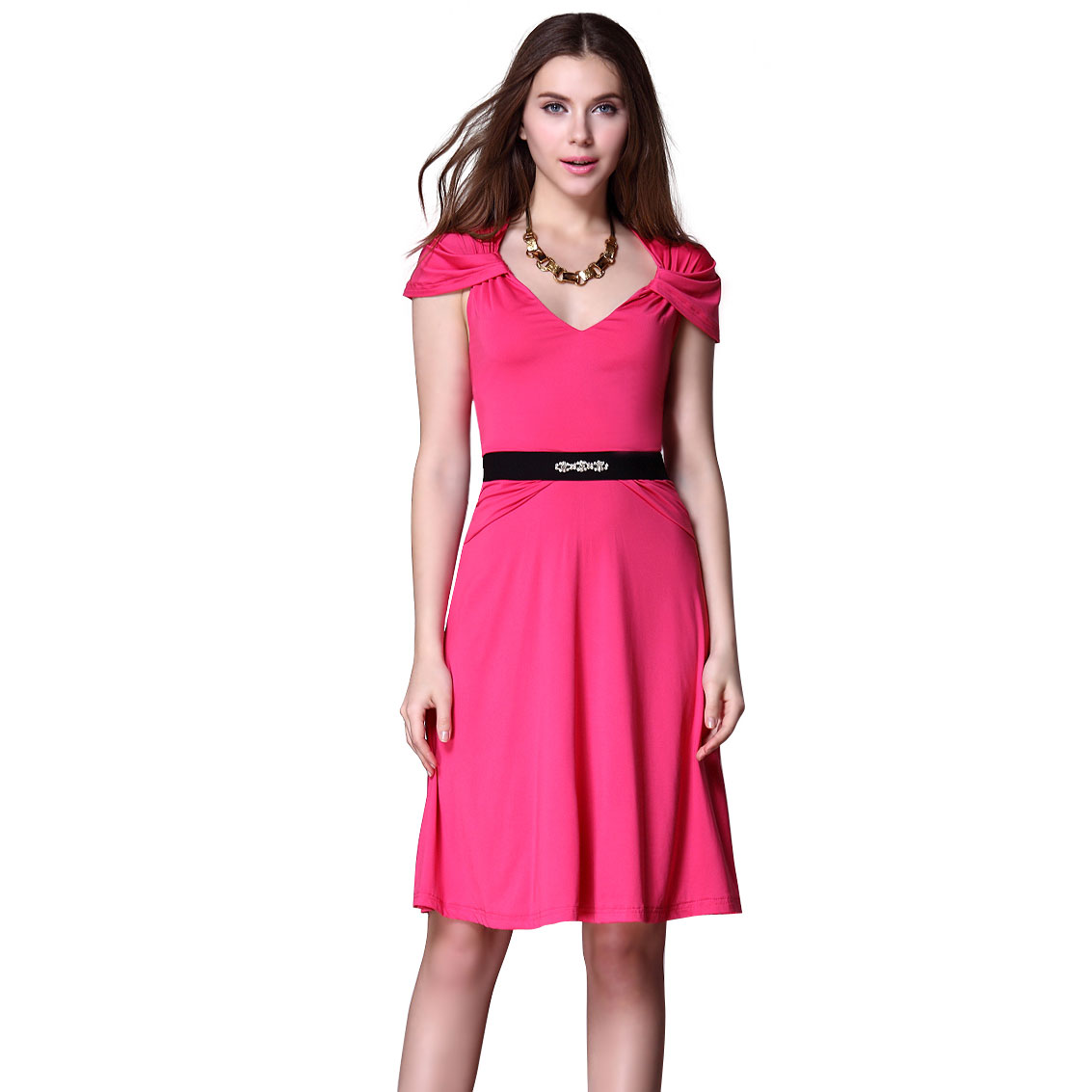 Ever-Pretty Ever Pretty Stretchy Cap Sleeve Knee Length Hot Pink Casual Day Dress 03891 at Sears.com