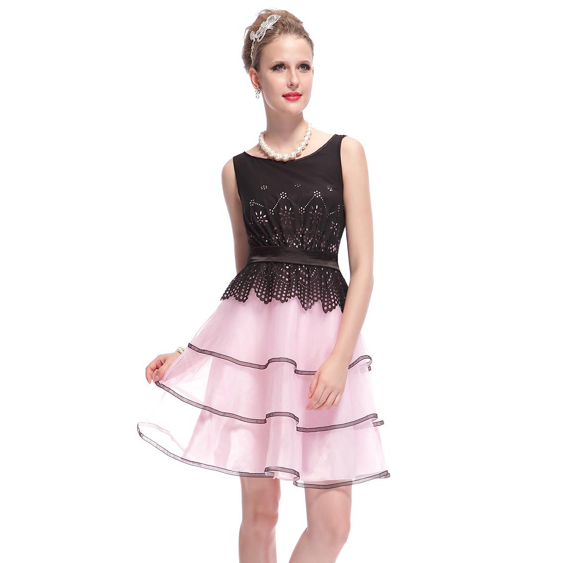 Ever-Pretty Ever Pretty Sleeveless Short Black Pink ...