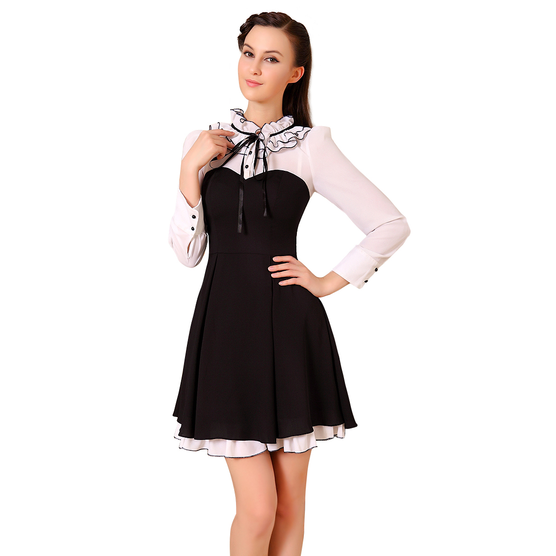 Ever-Pretty Ever Pretty Long Sleeve Ruffles Black White Wear To Work Dress