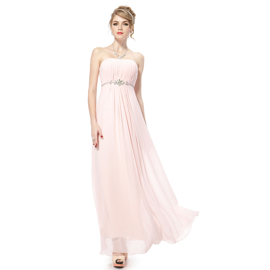 Ever-Pretty Ever Pretty Elegal Strapless Pink Long Chiffon Evening Summer Dress 08125