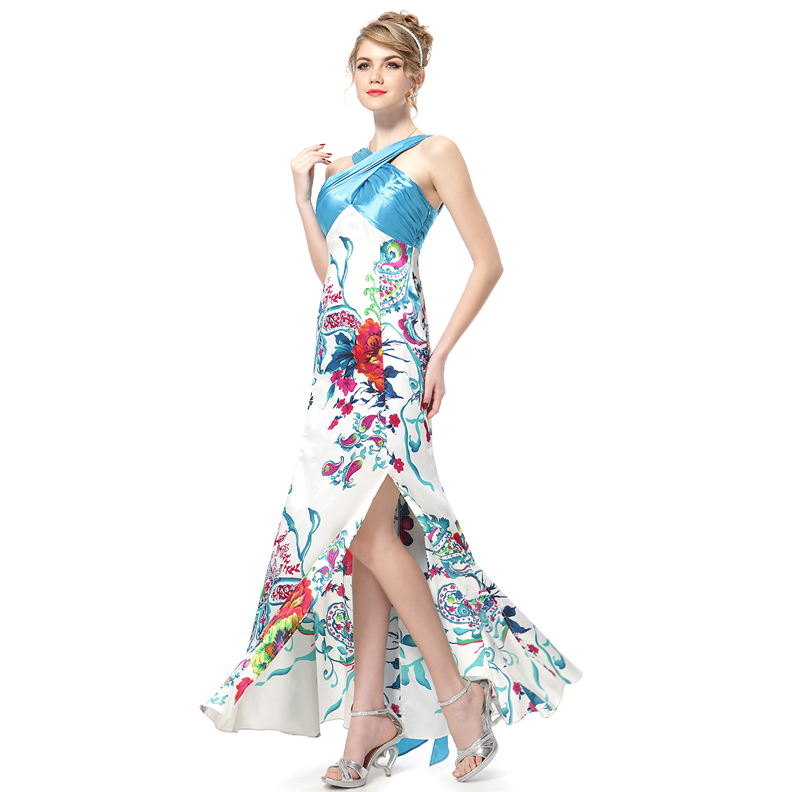 Ever-Pretty Ever Pretty Floral Printed Satin Splited Ladies Evening Party Gowns 09260 at Sears.com
