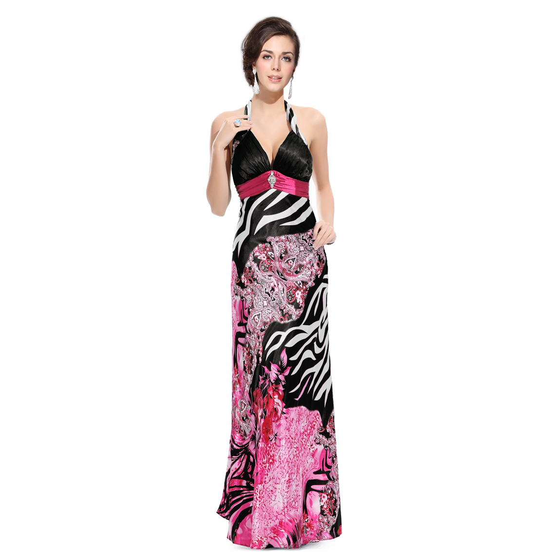 Ever-Pretty Ever Pretty Halter Flower Printed Open Back Empire Waist Formal Party Dress 09340