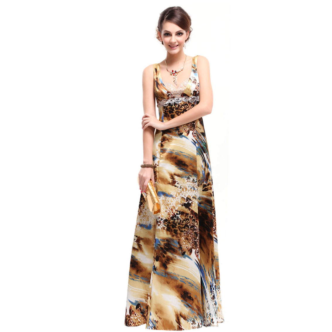 Ever-Pretty Ever Pretty Colorful Floral Printed Double V-neck Sequin Long Evening Dress 09357 at Sears.com