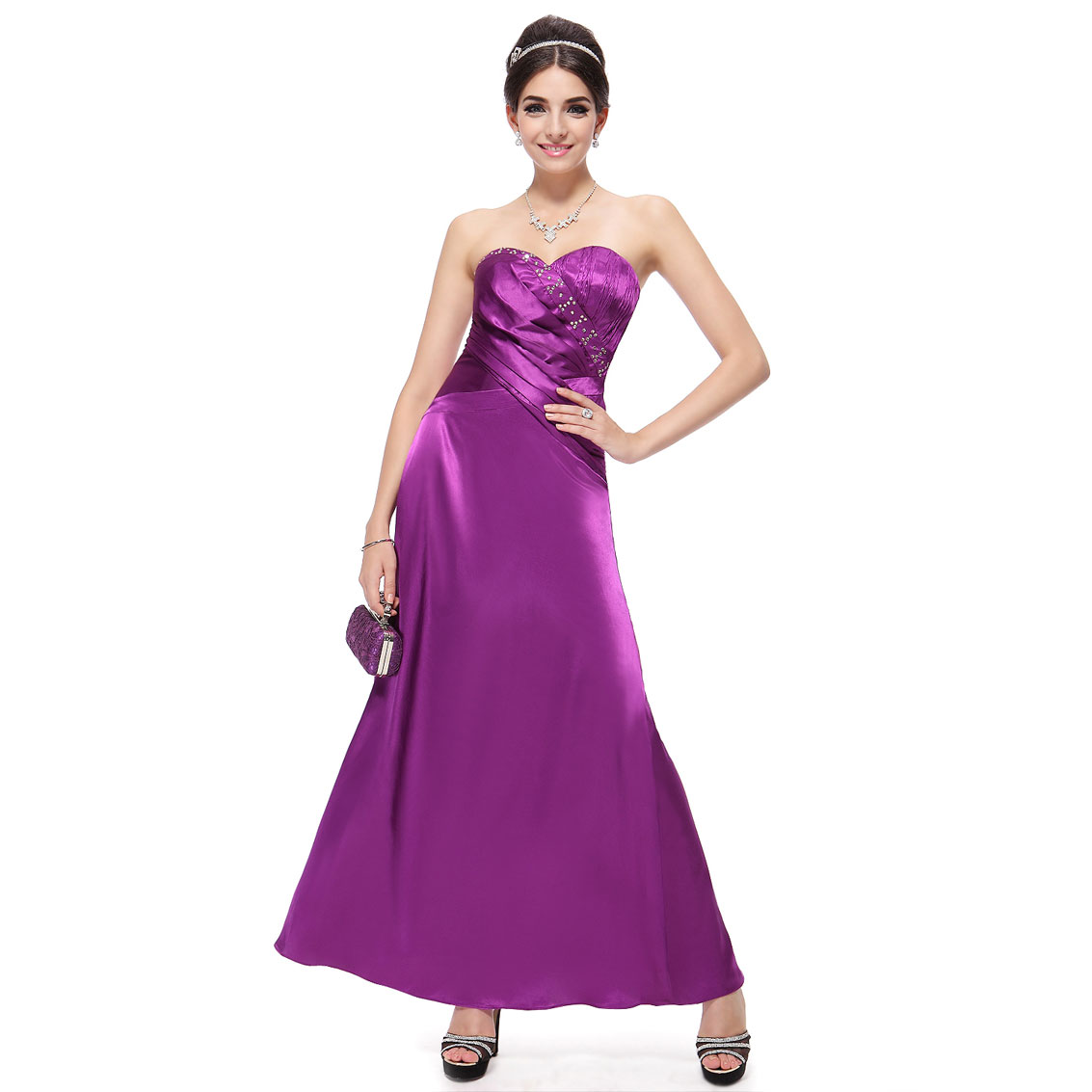 Ever-Pretty Ever Pretty New Purples Rhinestone Satin Strapless Long Empire Evening Dress 09438 at Sears.com