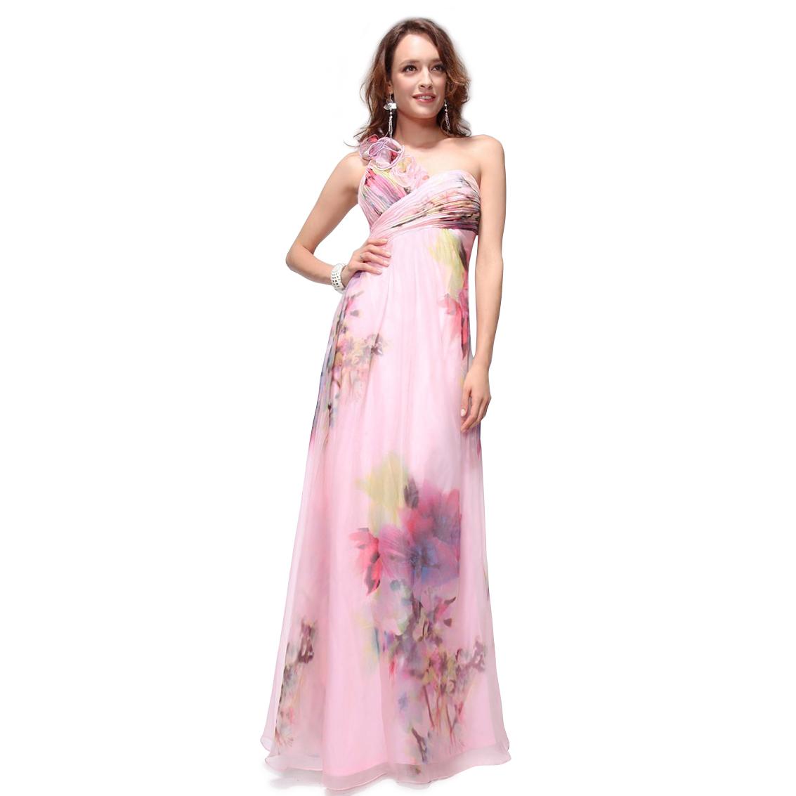 Ever-Pretty Ever Pretty Ruffles Flower Chiffon New Floral Printed Long Prom Dress 09585