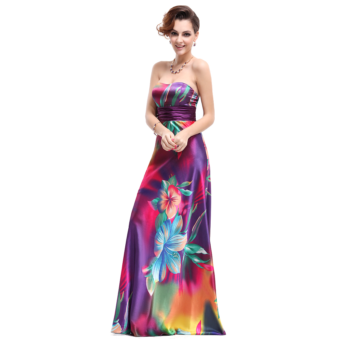 Ever-Pretty Ever Pretty Strapless Floral Printed Satin Colorful Empire Line Prom Dress 09603 at Sears.com