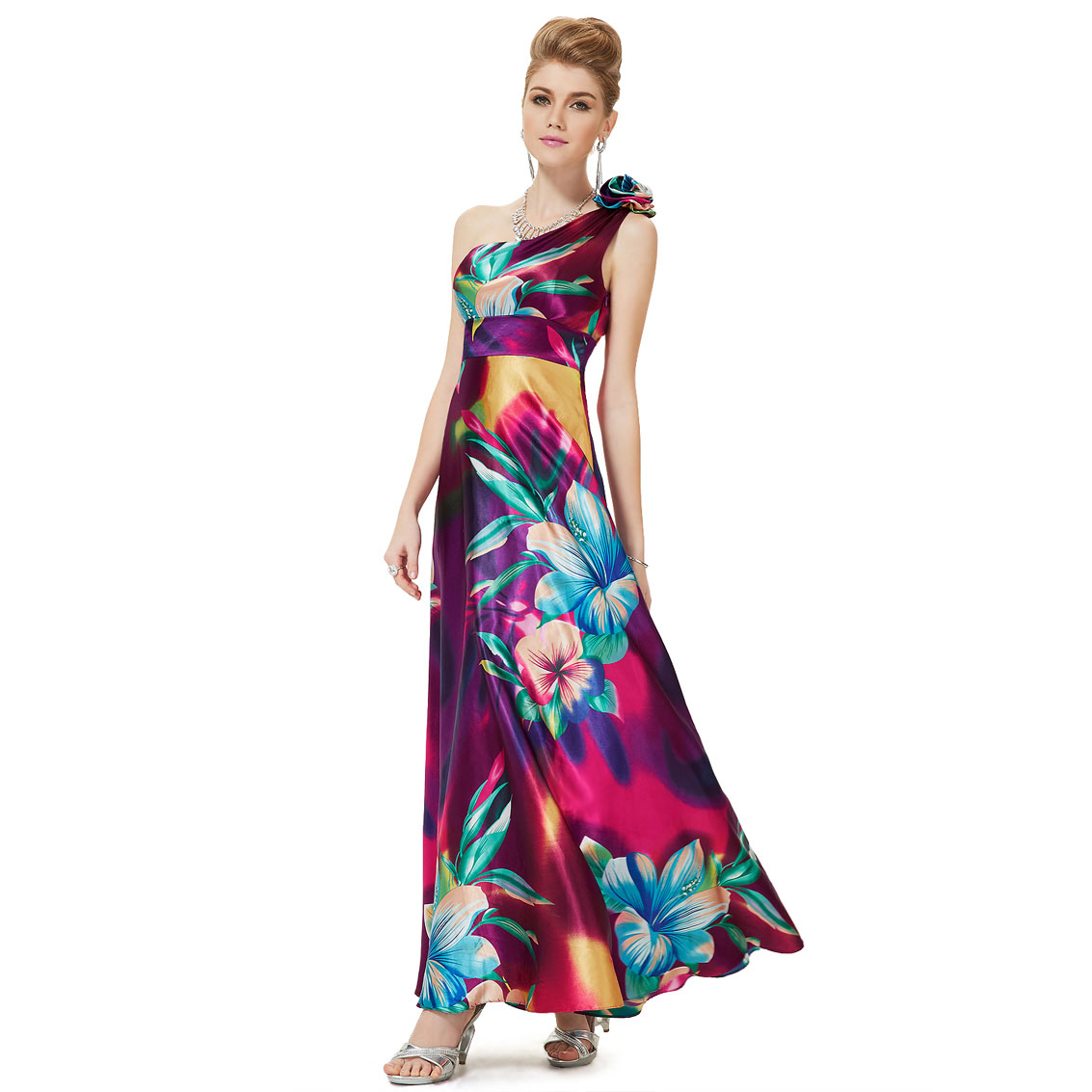 Ever-Pretty Ever Pretty One Shoulder Flower Empire Line Satin Printed Prom Dress 09623 at Sears.com