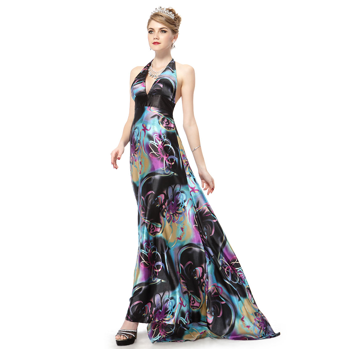 Ever-Pretty Ever Pretty Open Back Floral Print Halter Sexy Satin Padded Long Prom Dress 09625 at Sears.com