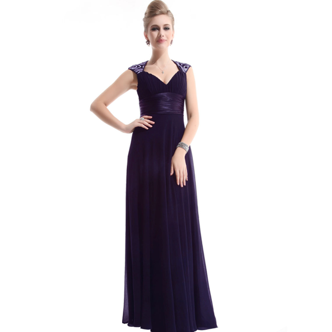 Ever-Pretty Ever Pretty Chiffon Sexy V-neck Ruffles Empire Line Evening Dress 09672 at Sears.com