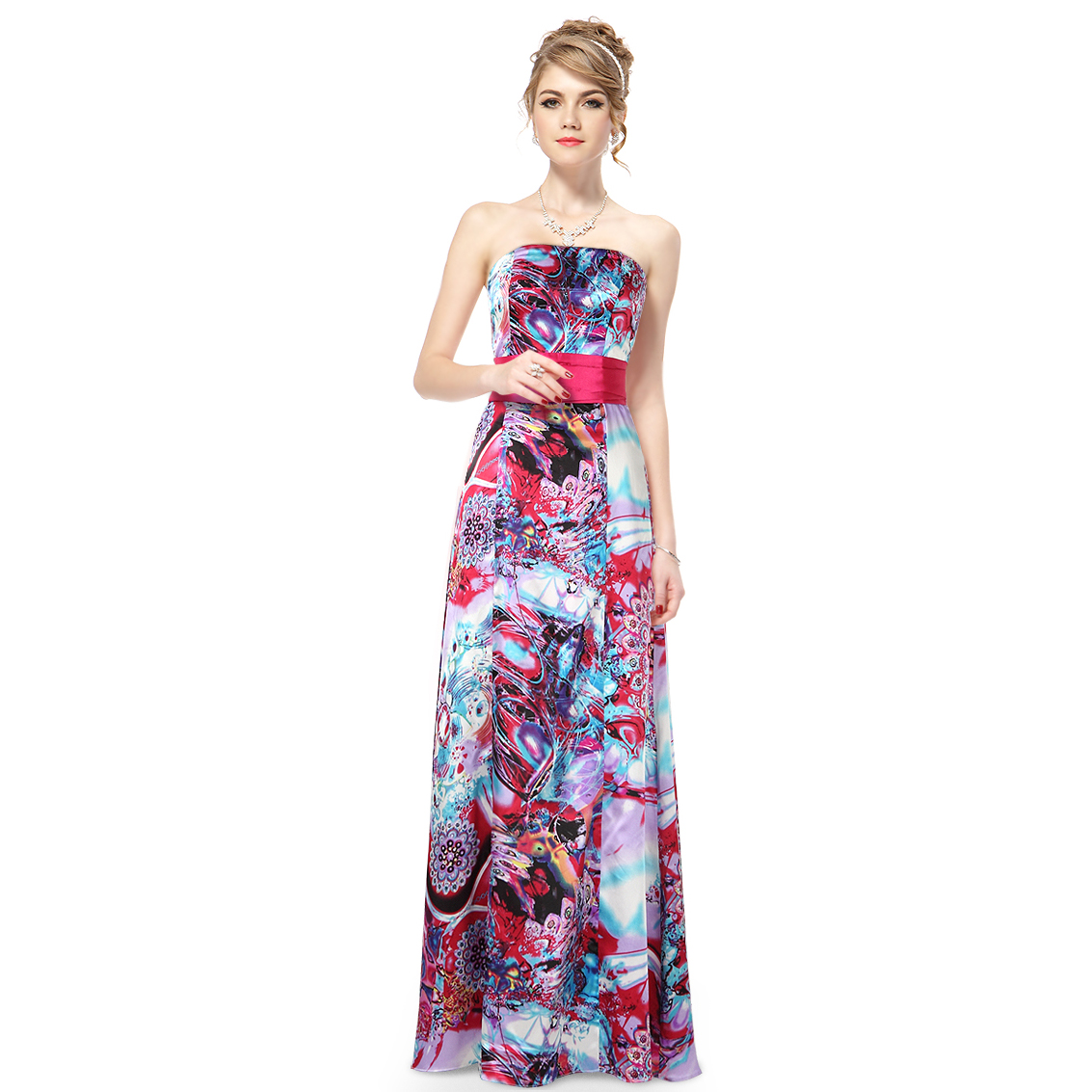 Ever-Pretty Ever Pretty BNWT Strapless Floral Printed Satin Bow Long Evening Dress 09679 at Sears.com