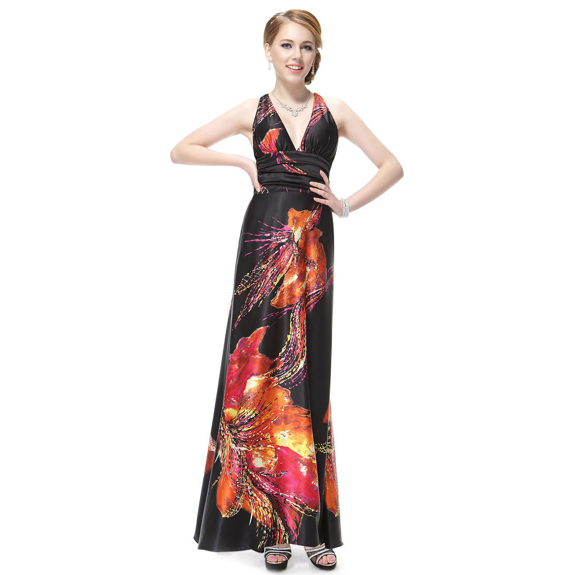 Ever-Pretty Ever Pretty Open Back Sexy V-neck Floral Printed Satin Long Evening Dress 09693 at Sears.com