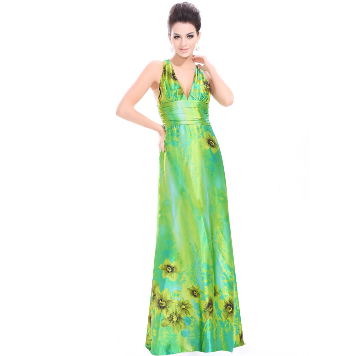 Ever-Pretty Ever Pretty Deep V-neck Printed Trailing Satin Long Sext Prom Dress 09712 at Sears.com