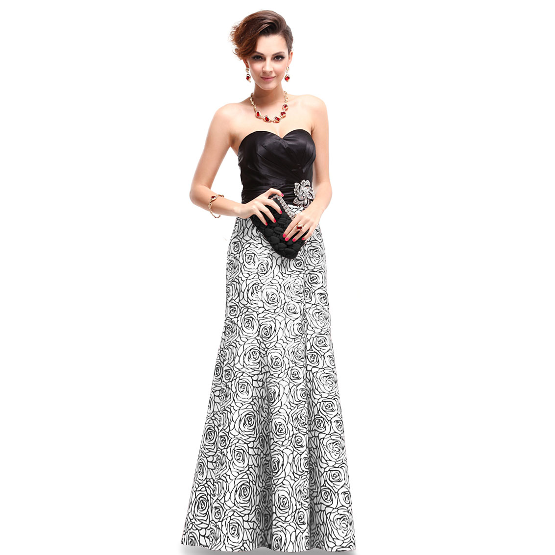Ever-Pretty Ever Pretty Strapless Satin Floral Printed Ruffles Evening Gown 09727 at Sears.com