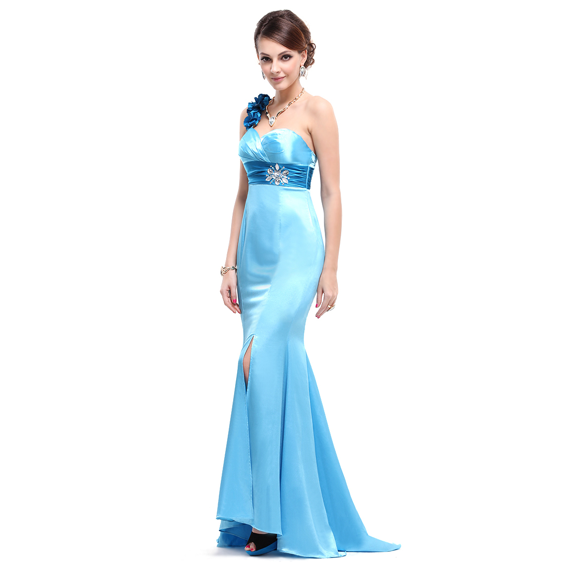 Ever-Pretty Ever Pretty One Shoulder Flower Rhinestones Blue Satin Ruffles Formal Dress 09744 at Sears.com