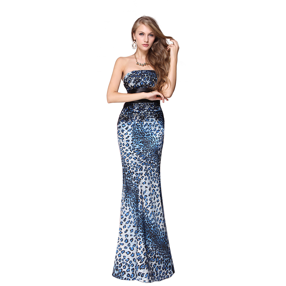 Ever-Pretty Ever Pretty Animal Printed Satin Strapless Fishtail Long Prom Dress 09832 at Sears.com