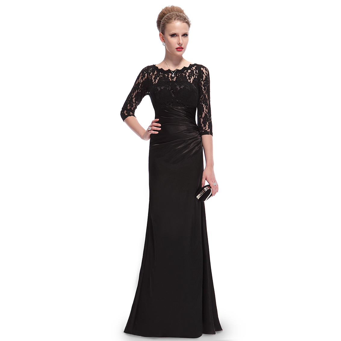 Ever-Pretty Ever Pretty Elegant 3/4 Sleeve Lace Women's Long Black Evening Dress 09882 at Sears.com