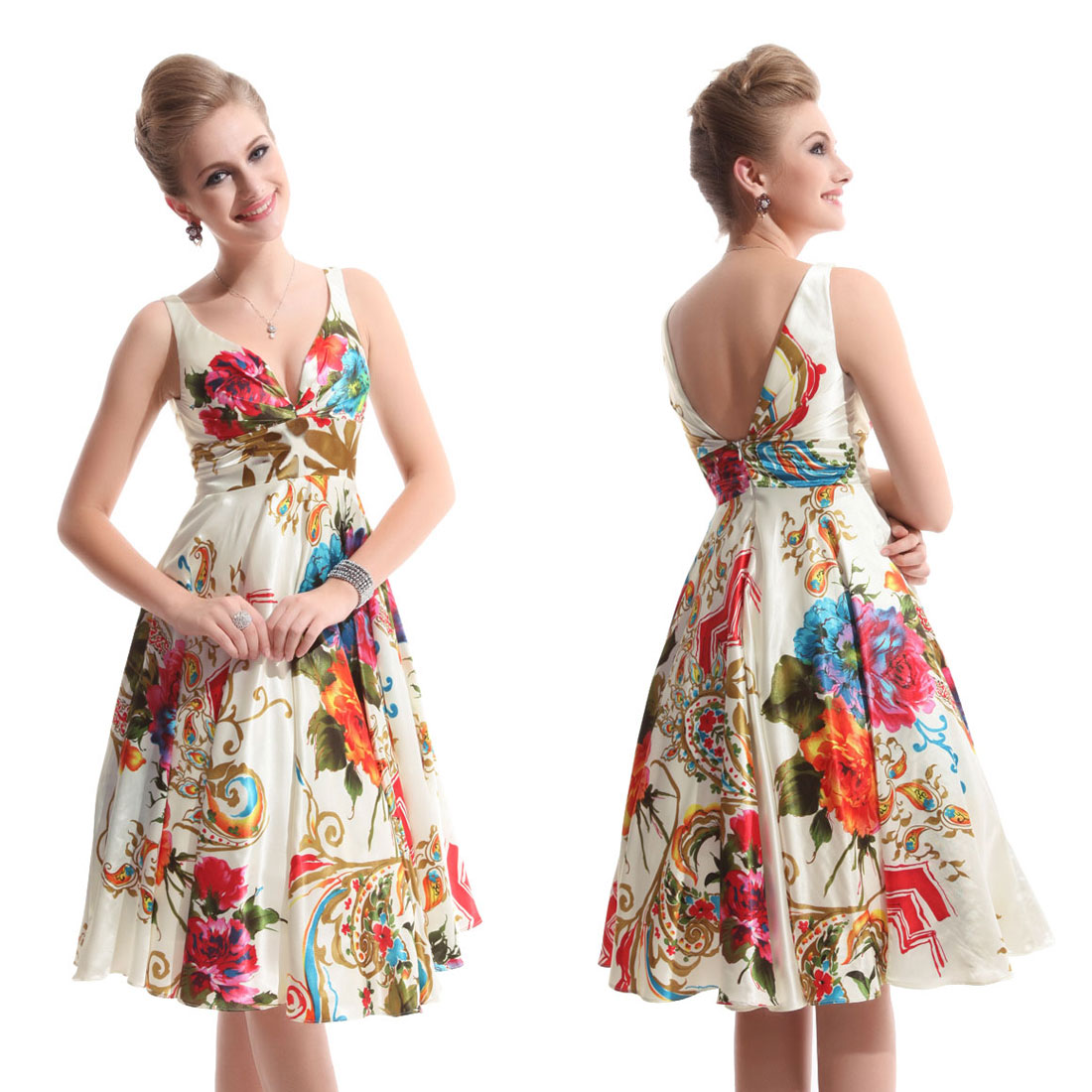 Double-V-neck-Girls-Printed-Cocktail-Party-Graduation-Prom-Dress-03381-Size-6-18