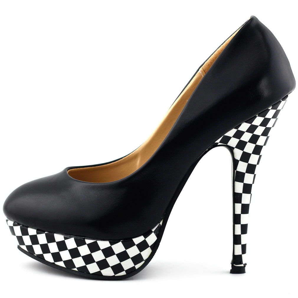 Black And White Checkered Wedge Shoes