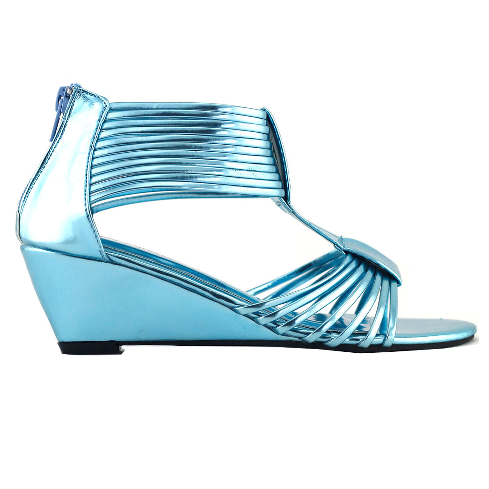 light blue new womens strappy party gladiator wedge low heel sandals. Black Bedroom Furniture Sets. Home Design Ideas