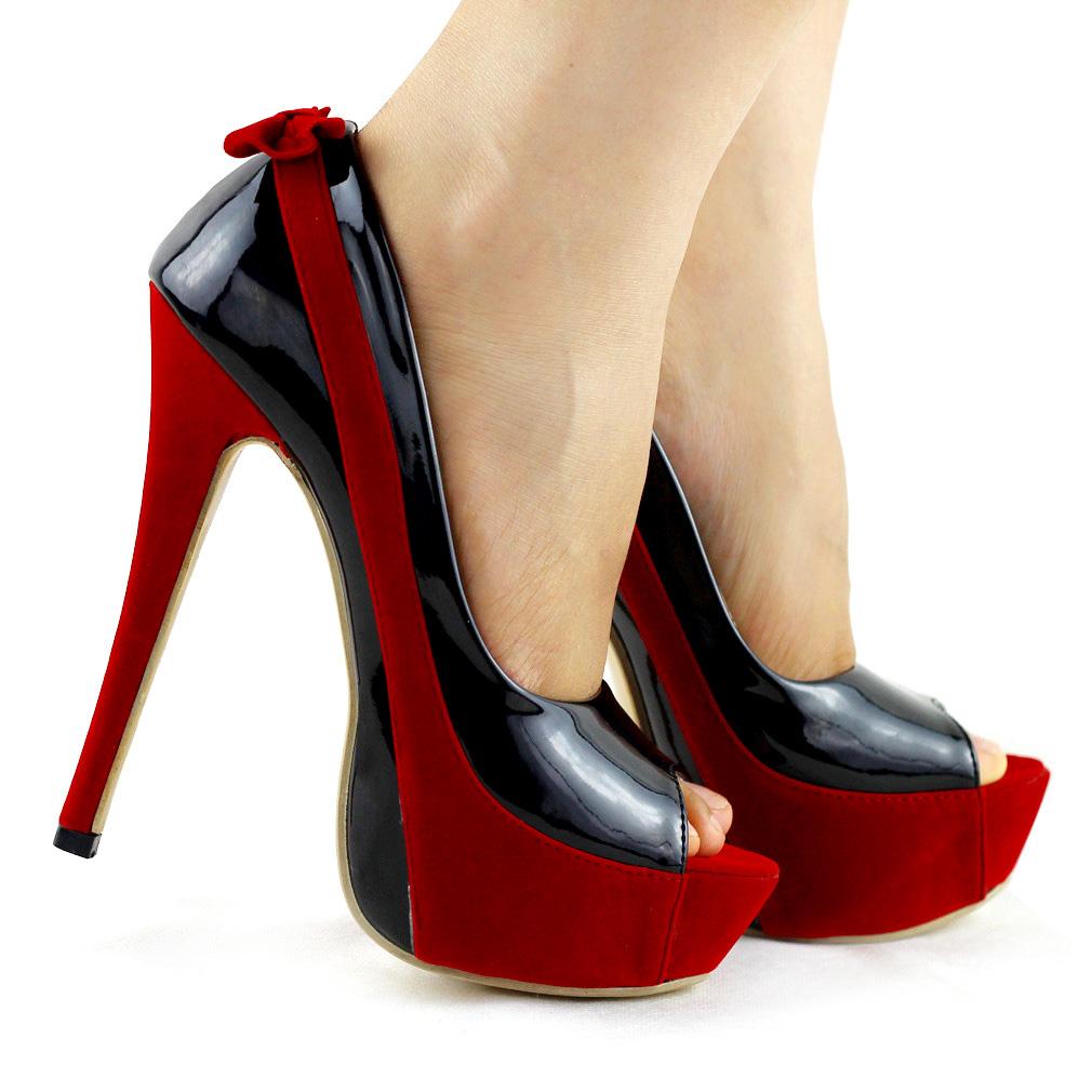 New Women Ladies Peeptoe Black Red Shoes