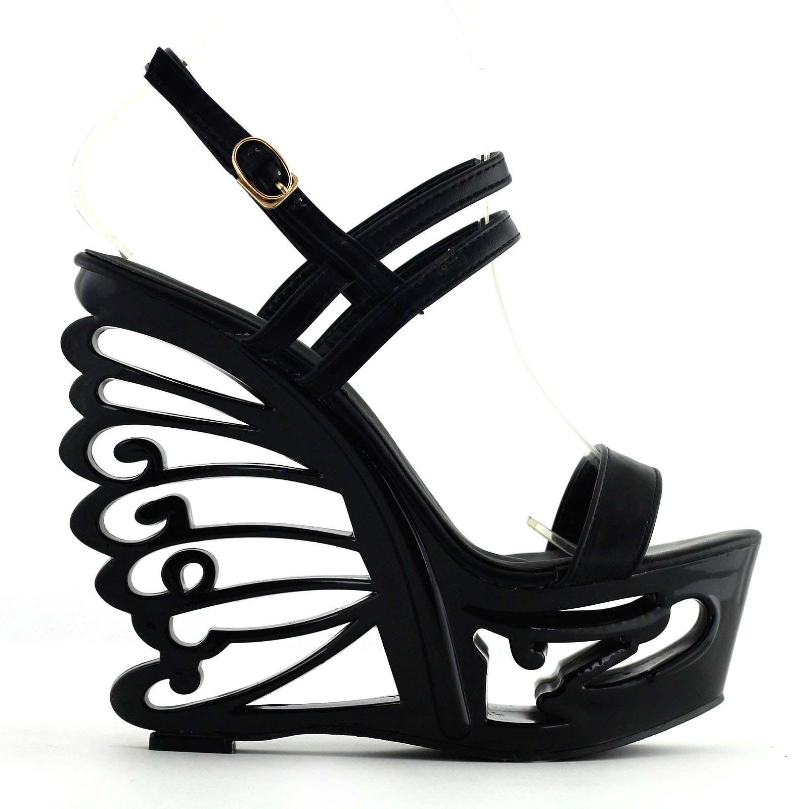 Black/White Strappy Bride Wedding Wedge Butterfly Heel