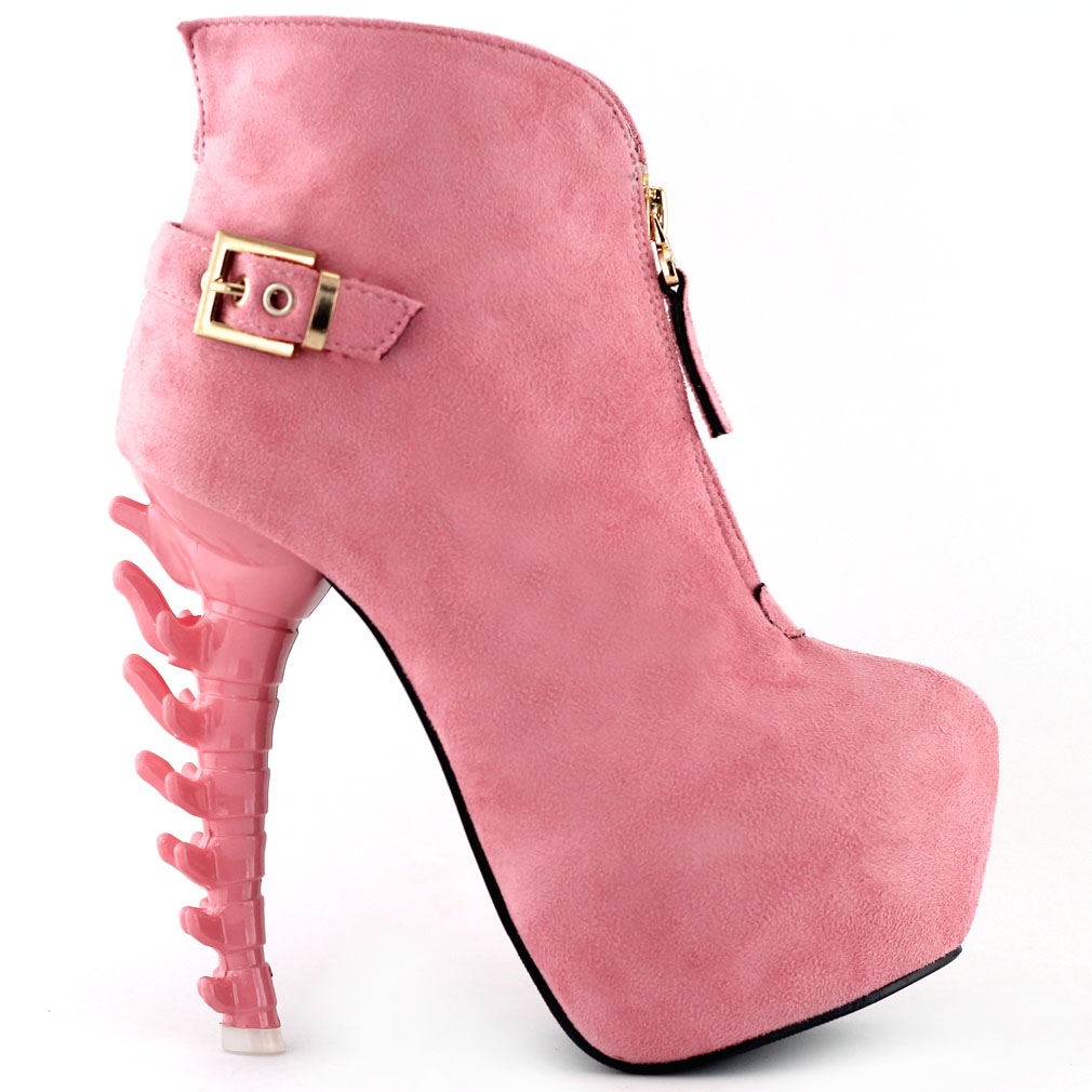 black green pink buckle zipper bone heel platform ankle