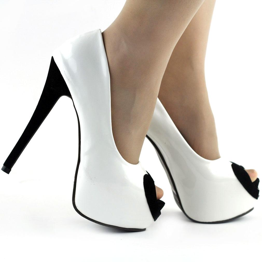 black white two tone peep toe evening platform 6 high. Black Bedroom Furniture Sets. Home Design Ideas